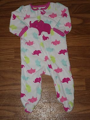 Child of Mine by Carter's Baby Girl 3-6 Month Fleece Footed Sleeper Elephant EUC