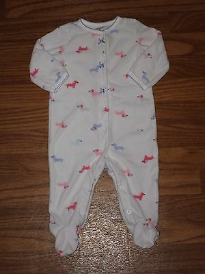 Carter's Baby Girl 6 Month Fleece Footed Sleeper White Pink Purple Dogs EUC