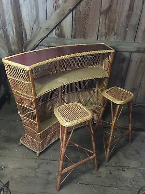 Vintage Italian Wicker Rattan Mid Century Bar Stool Set Outdoor Patio Furniture