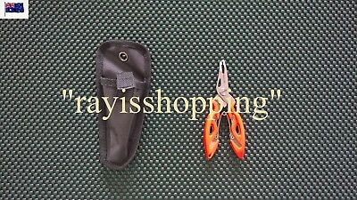 RED / ORANGE Fishing Lure Plier Braid Scissor Cutter Stainless Steel WITH POUCH