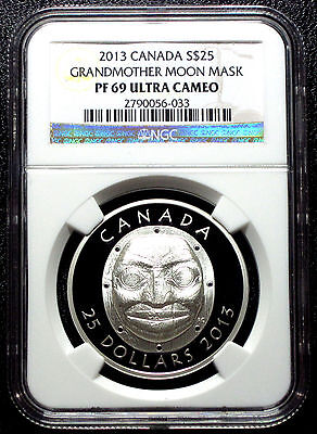 2013 Canada Grandmother Moon Mask Silver Proof $25 Ngc Pf69 Ucam