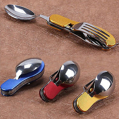 3-in-1 Traveling Camping Hiking Pocket Folding Spoon Dining Cutlery NEW Outdoor
