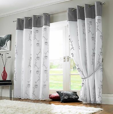 Pair Of Embroidered Black Flowers White Voile Lined Eyelet Curtain Free Postage