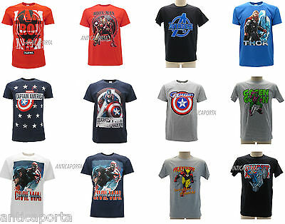 T-shirt Originali Marvel Supereroi Originale Maglia Iron Man Capitan America.,,,