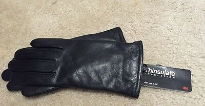 Genuine Leather Ladies Black Gloves 40 gram Thinsulate Lined sz Small NEW NWT