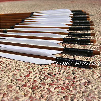 12PK Turkey white feather handmade bamboo arrow 30-32inch for recurve bow