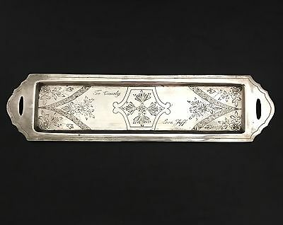"""900 FINE COIN SILVER PIN TRINKET or VANITY TRAY 11 1/8"""" X 2 3/4"""""""
