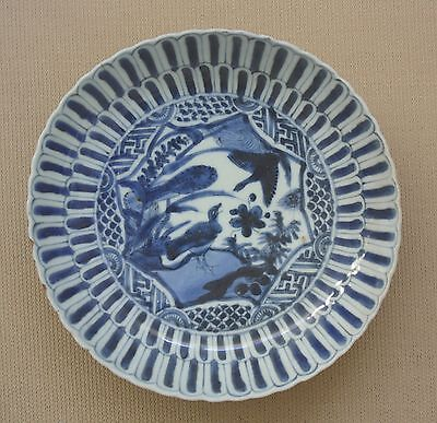 Antique Chinese Kraak porcelain bowl plate dish Ming Wanli c. 1600 blue & white
