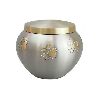 Paws on Pet Urn in Gold and Silver for Dog Cat Cremation Ashes Cremains