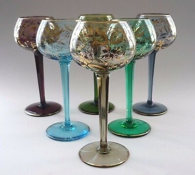 SIX VINTAGE BOHEMIAN WINE GLASSES POSSIBLY MOSER FINISHED IN 24ct GOLD LEAF