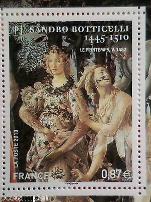 FRANCE 2010, timbre TABLEAU BOTTICELLI, ART, ZEPHYR, NYMPHE neuf** MNH PAINTING