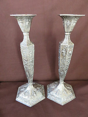 """VTG.SILVER PLATED CANDLE HOLDERS 10"""" tall RICH-ORNATE-SCENES PATINA  # 99"""
