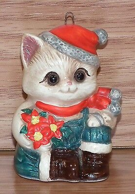 Vintage Unbranded Sitting Cat w/ Boots & Flowers Christmas Tree Ornament *JAPAN