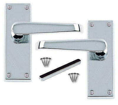 Door Handles Victorian Straight Internal Polished Chrome Door Handle 1-16 Pairs