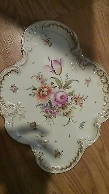 Antique Dresden Flowers Dresser Display Tray Gold Trimmed Edges
