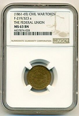 Civil War Token The Federal Union (1861-65) F-219/323a MS63 BN NGC