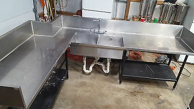 Stainless Steel 2 Bay Sink and Table with Storage 9.5' Long X 7.25' Wide