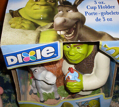 Dixie 3 oz disposable cup holder Shrek ad Donkey NWD NEW cute childrens design