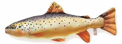 Gaby Soft Fish Pillow Fishing Camping Novelty Gift Brown Trout