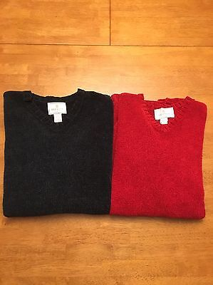 Lot of 2 Express Tricot Women's L Large Sweaters Knit Green and Red