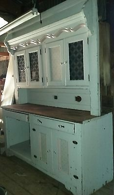 Antique Stepback Cupboard Upper Plate Rack and Blue & Silver Glass Doors