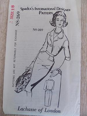 Vintage Sewing Pattern..spadea..lachasse Of London Design..sz 18..1950's