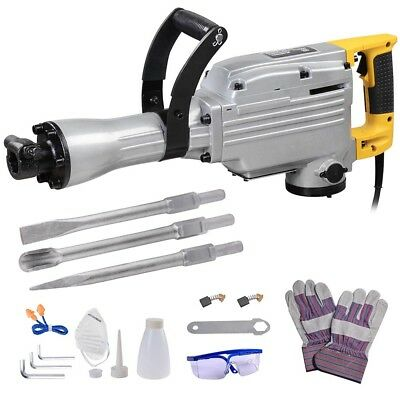 1700W Electric Demolition Jack Hammer Drill Concrete Breaker 3 Chisel Punch Tool