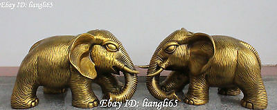 "17""Fine Chinese Pure Bronze Fengshui Elephant Elephants Animal lucky statue Pair"