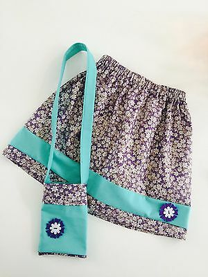 Icy Lavender - Girls French Skirt with matching bag or headband - 100% cotton