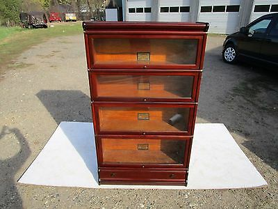 Antique Globe Wernicke C-1910 4 Section All Original Mahogany Barrister Bookcase