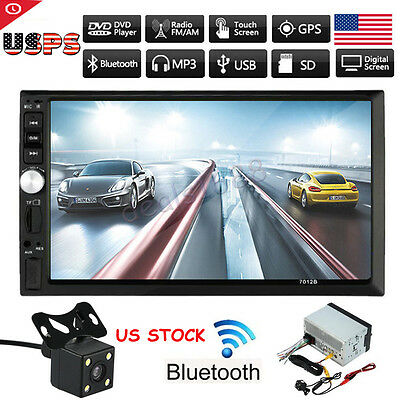 "7"" HD Touch Screen Double 2DIN Car Stereo Player FM Bluetooth Radio Camera GPS"