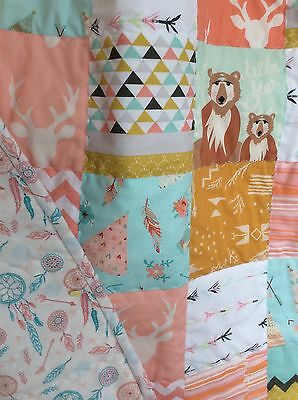 Baby patchwork Handmade Quilt Dream catcher Woodland Teepee Deer Stag Quilt