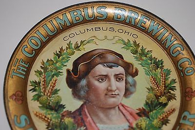 "Vintage Columbus Brewing 4.25"" tin litho tip tray Mint   Beer Advertisising"