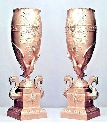 Pair Of French Victorian Bronze Dore Tall And Narrow Vases