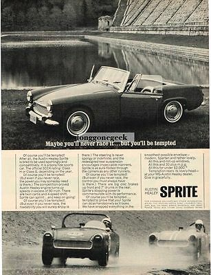 1965 Austin Healey Sprite You'll Be Tempted To Race It Vtg Print Ad