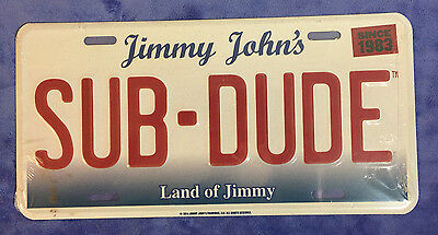 "RARE NEW Jimmy John's Metal Wall Sign license plate ""SUB-DUDE"" Collectable"