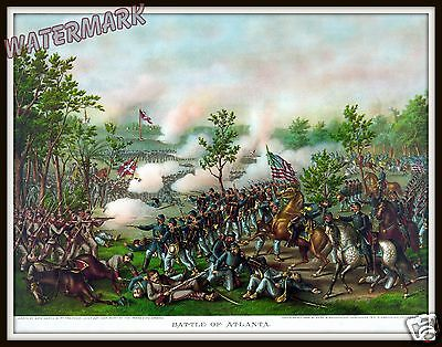 Historical Civil War Painting of the 1864 Battle of Atlanta   11x14