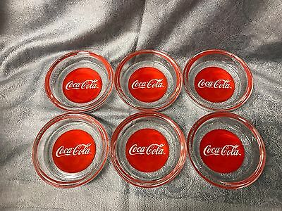 Vintage 1984 Coca Cola Coaster Set 6 Pc  Indiana Glass Decorated Crystal Coke
