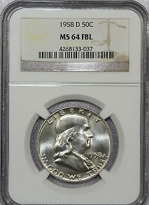 1958 D Franklin Silver Half Dollar Certified Ngc Ms 64 Fbl - Nice Coin!