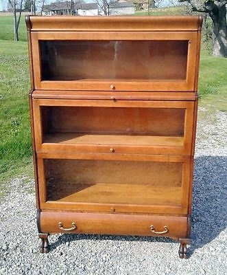 VTG 3 Stack Tiger Oak Hale Barrister Stepback Claw Feet Bookcase w Writing Board