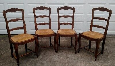 4 Antique c1900 Beautiful RARE French Decorative Dining Chair Rush Cabroile Legs