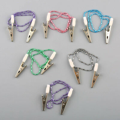 6pcs Dental Metal Ball Chain Bib Clips Napkin Holder Flexible Scarf Holders