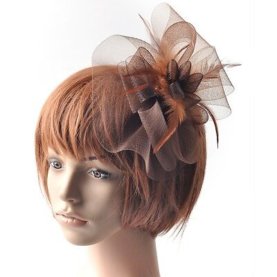 Party lady wedding handmade fascinator feather feather hair accessory clip brown