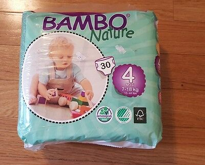 Bamboo Nature Premium Baby Diapers Size 4 (15-40 lbs.)