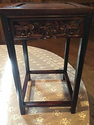 Chinese Teak Wood Table Carved Fretwork Apron c.1790