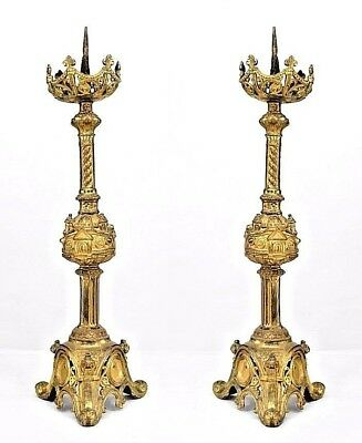 Pair of Italian Renaissance Style (19th Cent) Bronze Altar Sticks