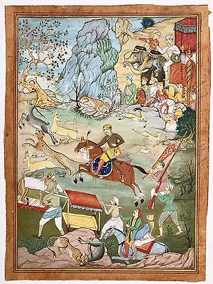 Fine Original 19th Century Mughal Style Miniature Painting of a Royal Hunt