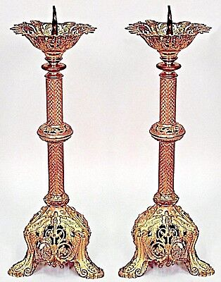 Pair of Italian Renaissance Style (19th Cent) Round Bronze Altar Sticks
