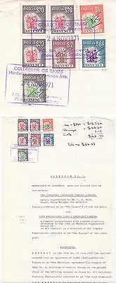 Rhodesia - 1971 Addendum Document with Revenue Stamps $20 x 3, $2, $1, 50c, 10c