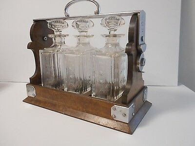 Antique BetJemann's London Tantalus Walnut 3 Cut Decanter Liquor Bottle Set